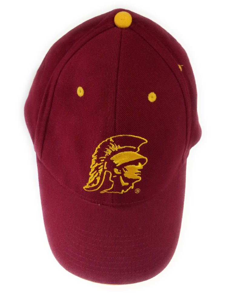 00aae27c USC Trojans Logo Baseball Style Hat Cap Deep Red / Burgundy  #SignaturesCollegiateLicensedProduct #BaseballCap