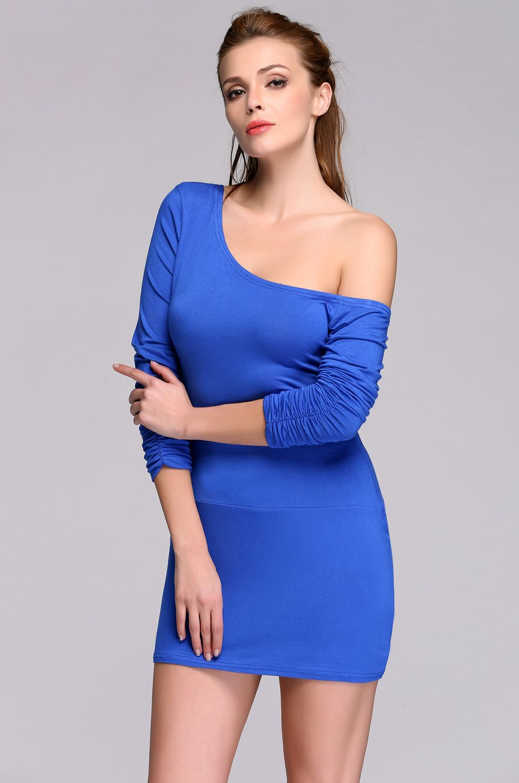 stylish lady women long sleeve one shoulder solid stretch