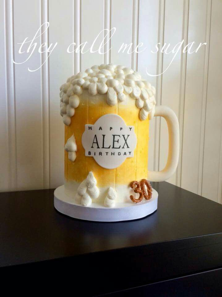 Can Call Me Sugar:  How about a nice cold mug of vanilla cake with swiss meringue buttercream?!  Complete with gumpaste pretzels.  Beer Mug cake.