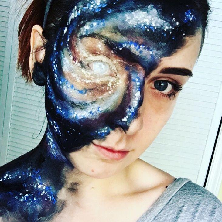 My talented daughter & her Galaxy makeup @zaynerd