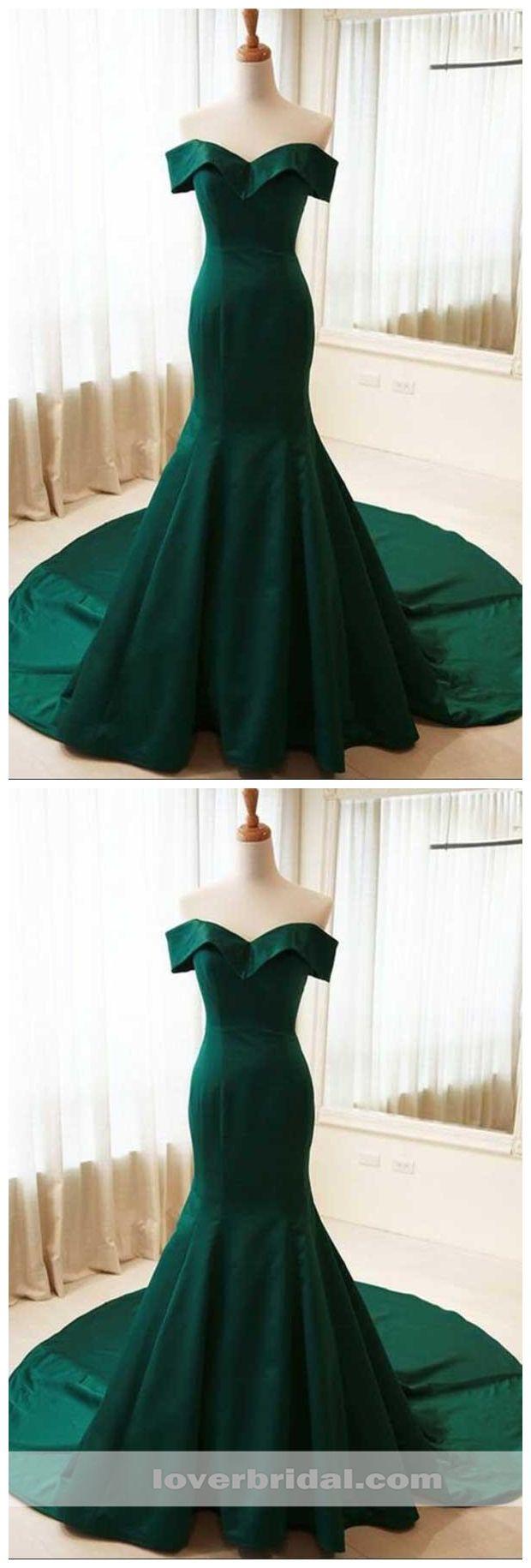 Simple emerald green mermaid long evening prom dresses cheap sweet
