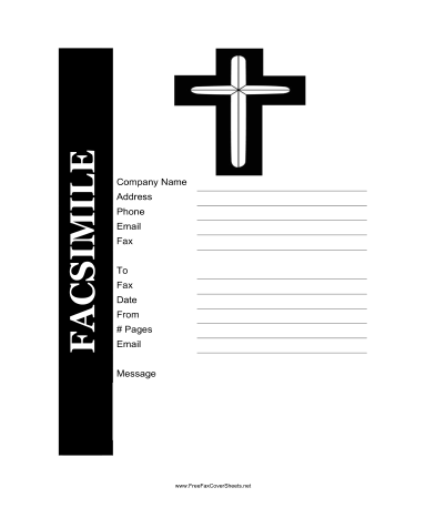A Cross Highlights This Printable Fax Cover Sheet Which Is