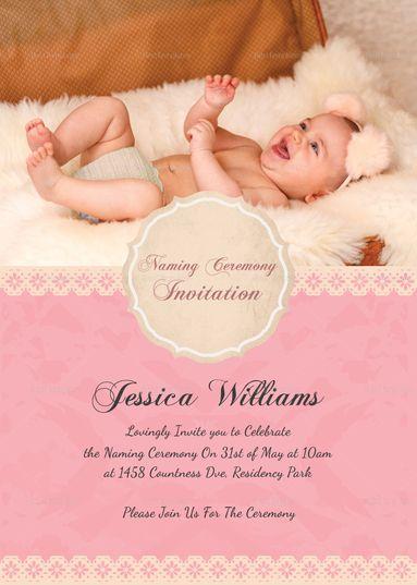 Happy Baby Naming Ceremony Invitation Card Template  Invitation