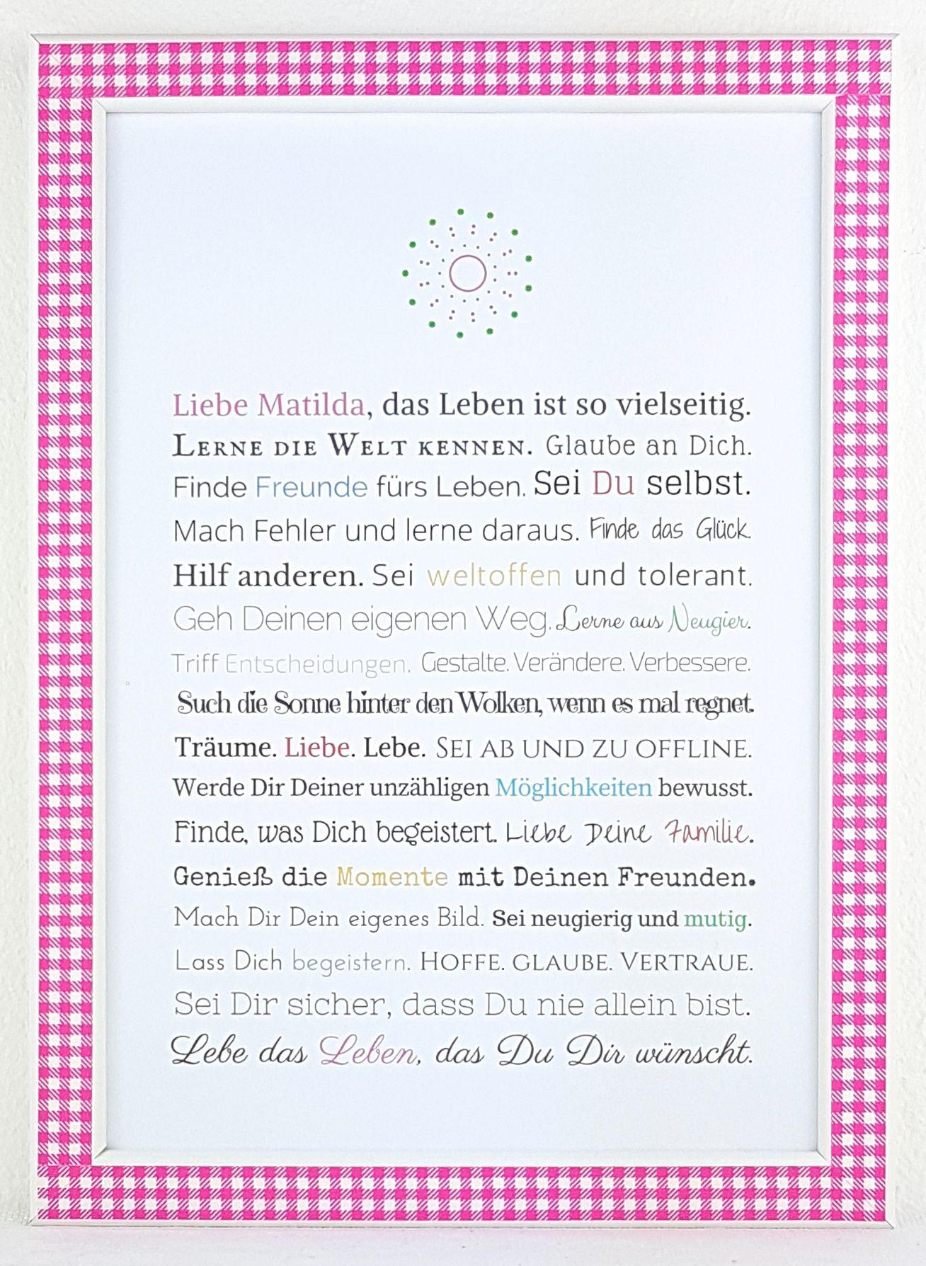 Geschenk Erstkommunion Jugendweihe Mädchen Gedichte