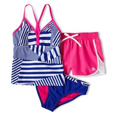200a6d31ac186 ZeroXposur® Striped Patchwork 3-pc. Swimsuit - Girls 7-16 and Plus found at  @JCPenney
