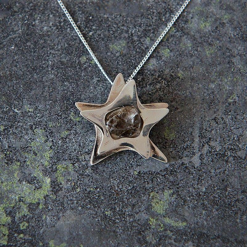 Silver star campo del cielo meteorite pendant silver stars molecule necklace aloadofball Image collections
