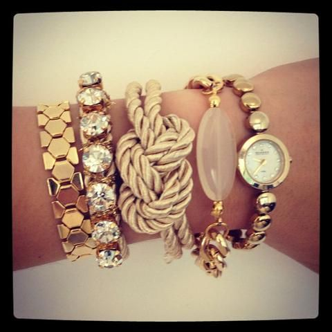 Knotted rope bracelet in gold, watch, crystal bling bracelet, gold chain jewelry for a boho fashion stacked & layered allure