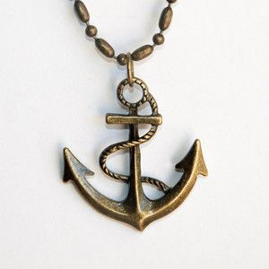 Brass Anchor Necklace now featured on Fab.