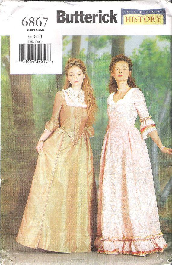 Colonial Dress Costume Sewing Pattern Butterick 40 Uncut Sizes 40 Mesmerizing Colonial Dress Patterns