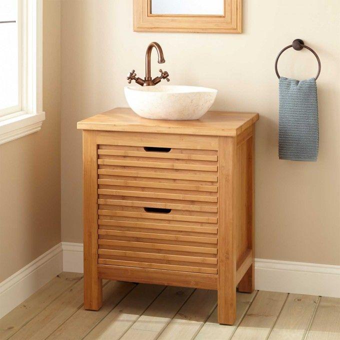 Narrow Depth Torrance Bamboo Slatted Front Vessel Sink Console - Bathroom vanities torrance