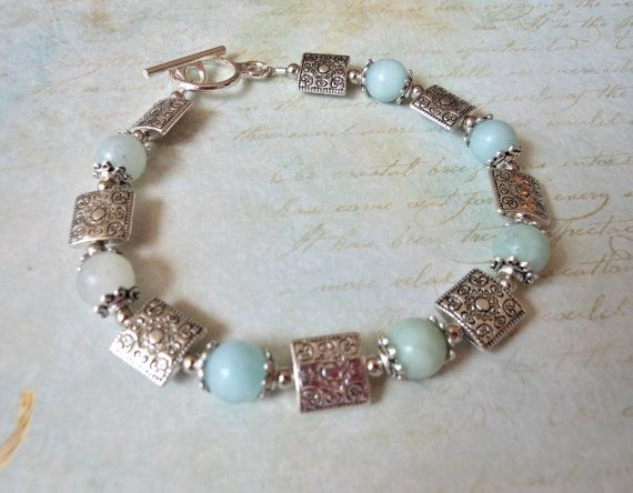 Blue Amazonite and Silver Beaded Toggle by TheMermaidApothecary