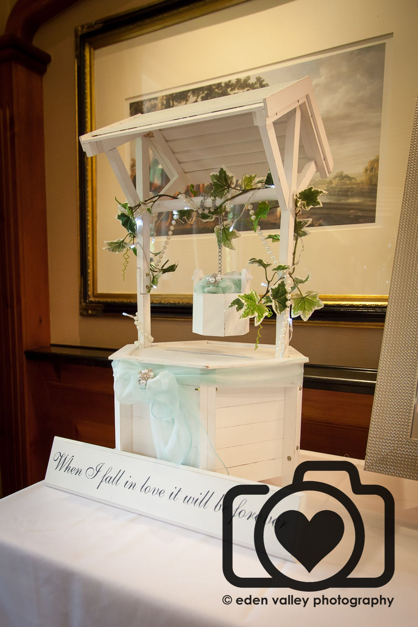 Wooden Wedding wishing well white ivory card box Incl Lid As