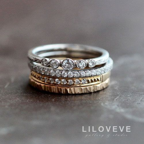 19 gorgeous stacked wedding rings - Stackable Wedding Rings
