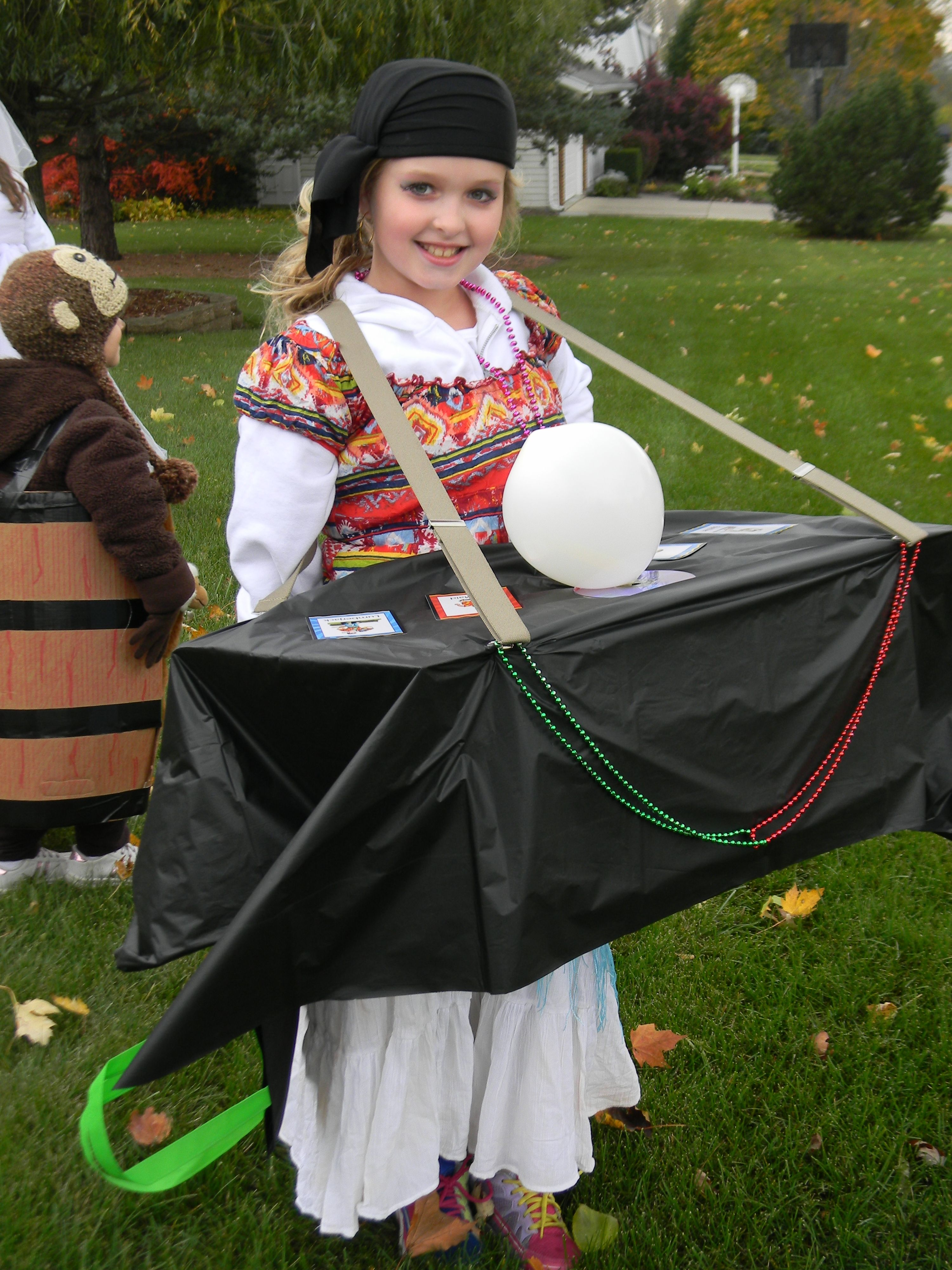 Fortune teller DIY Halloween costume. Cardboard box 'table ...
