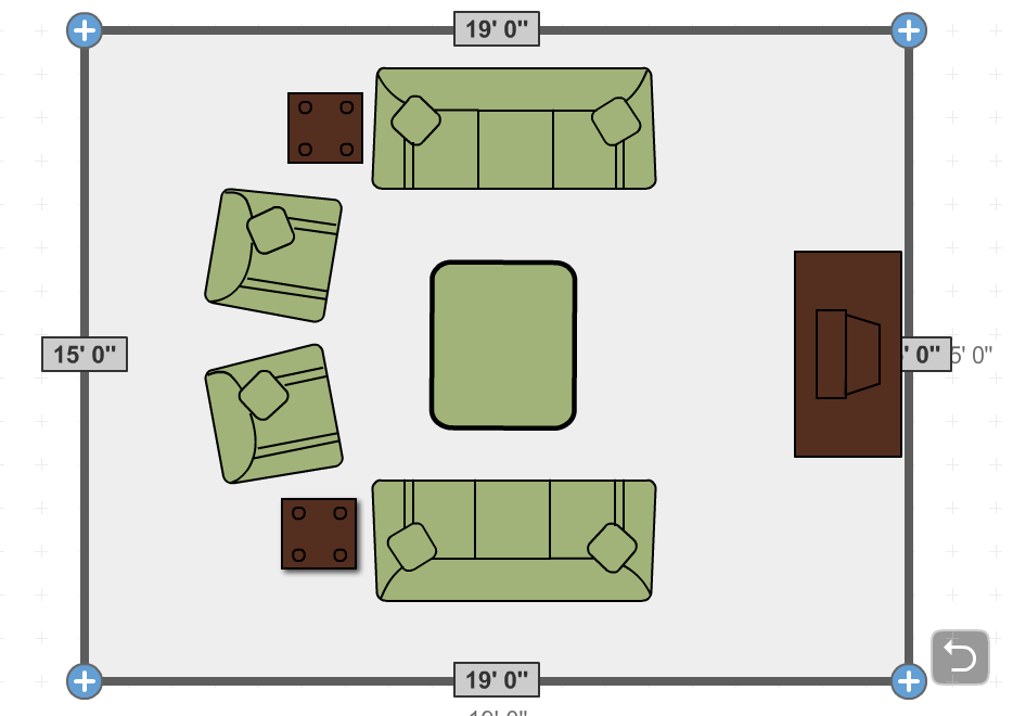 Living Room Layout. 2 Sofas, 2 Recliners, 1 BIG Ottoman. Use Glass