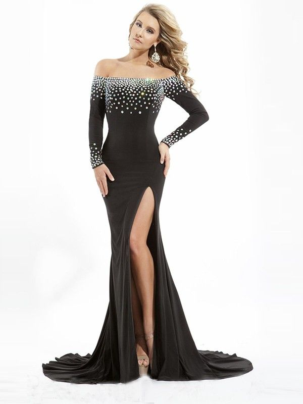 bb77646c69dc Trumpet/Mermaid Off-the-Shoulder Court Train Chiffon Long Sleeves Beading  Dresses