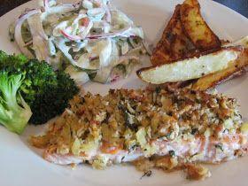 Cathrines matblogg: Laks med nøtteskorpe og spicy agurksalat.