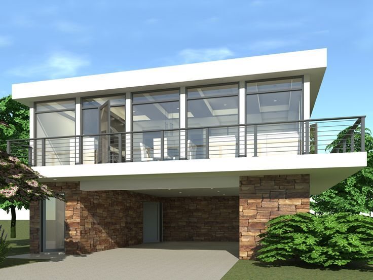 052g 0005 Unique Modern Carport Plan With Apartment Above