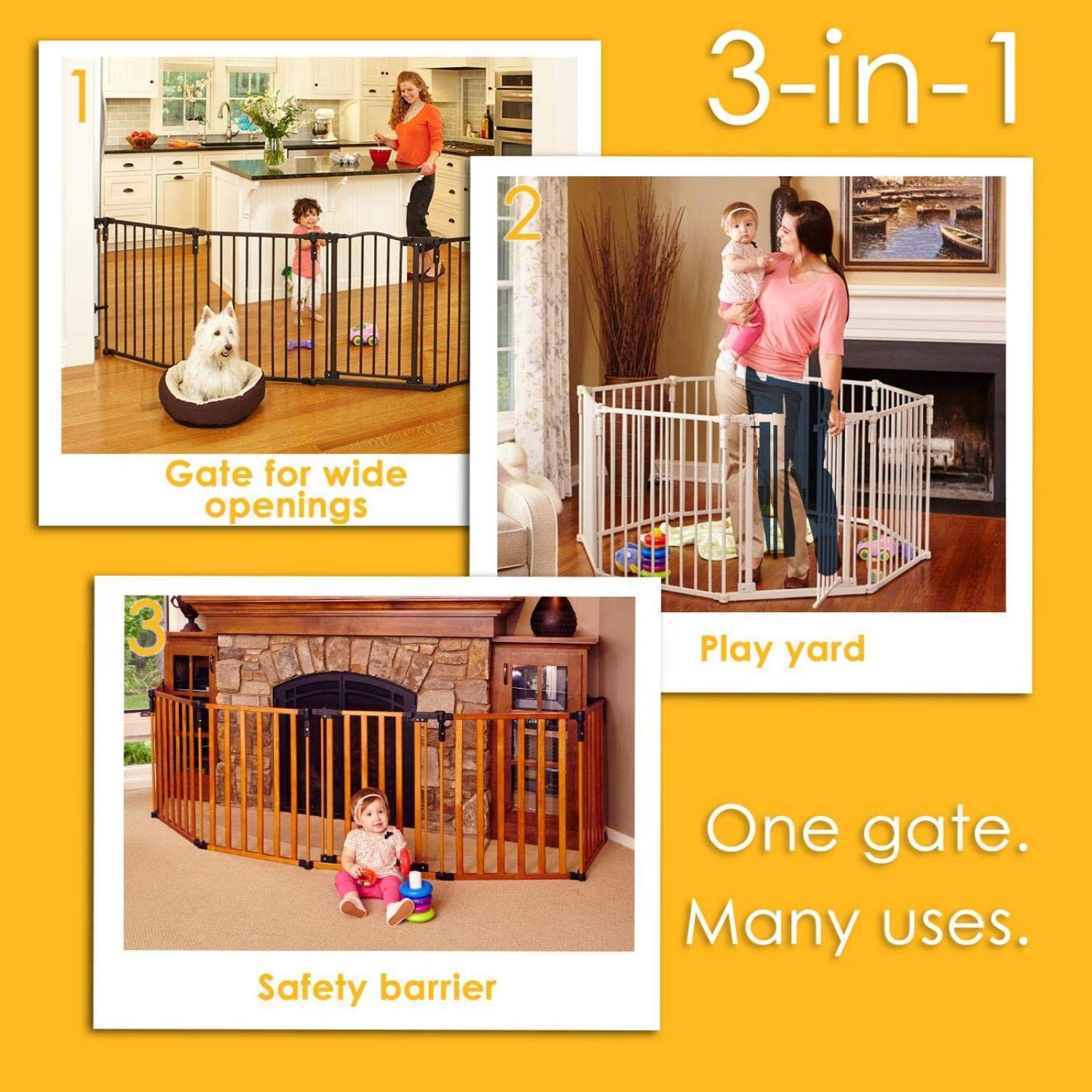 North States 3in1 Metal Superyard 144 Inches Long Play Yard Create An Extrawide Gate Or A Play Yard Hardware Mount Play Yard Extra Wide Baby Gate Baby Gates