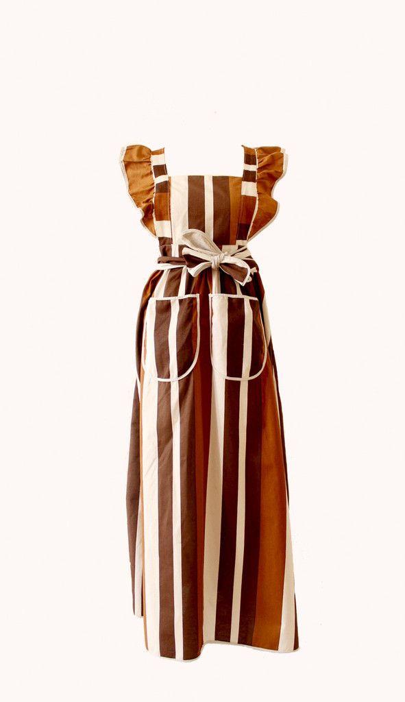 BROWN STRIPES APRON | Stiina's Vintage Fashion