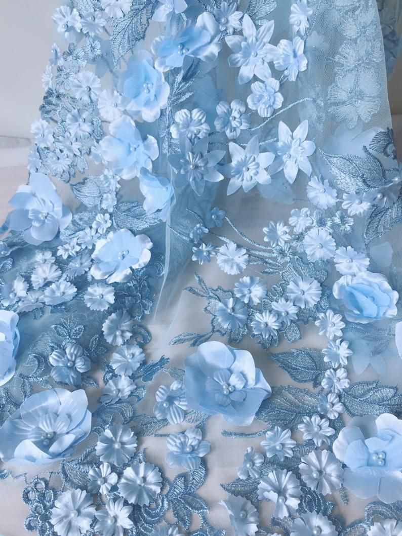 Blue Flower Fabric, 3D Flower Blossom Beaded Lace Fabric on Blue Tulle Fabric By The Yard