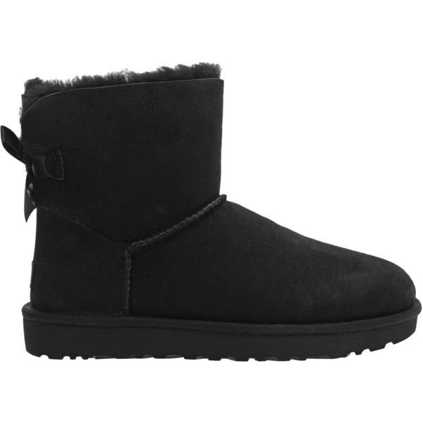Ugg Mini Bailey Bow Black Short Shearling Boots With Bow 199 Liked On Polyvore Featuring Shoes Boots Ankl Womens Uggs Black Ugg Boots Ugg Ankle Boots