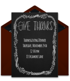 """Browse our collection of free Thanksgiving invitation templates! We love this """"Give Thanks Chalkboard"""" invitation that you can send to friends and family via email."""