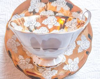 Glamorous Gold Floral 1950\'s Queen Anne Teacup and Saucer - Edit ...