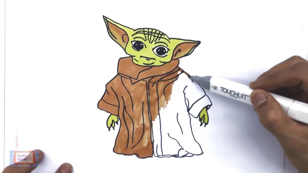 How To Draw And Color Baby Yoda Baby Yoda Coloring Page Baby Yoda Dr Yoda Drawing Drawing For Kids Coloring Pages