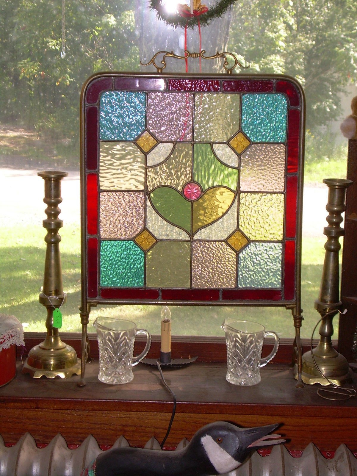 Antique Vintage Gorgeous Stained Glass Fire Screen Ebay