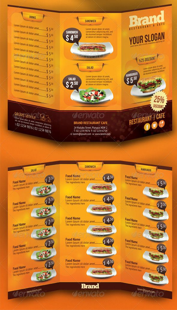Trifold Brochure Restaurant Cafe Menu Psd Template  Printing