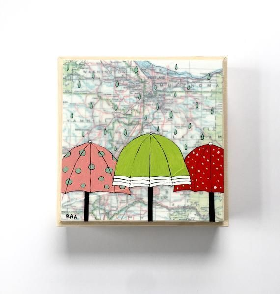 Cute Umbrella Painting with Northwest Map / 6x6 Oregon Map Art by Artist Rachel Austin #cuteumbrellas Oregon: 6x6 Map Painting  This Oregon painting comes from my love of maps and cute umbrellas.Original mixed media map painting with an Oregon state map layered subtly under the painting. Has a thick, waxy texture and is mounted on top a simple, handmade wood frame. The paintings began with a map on #cuteumbrellas Cute Umbrella Painting with Northwest Map / 6x6 Oregon Map Art by Artist Rachel A #cuteumbrellas