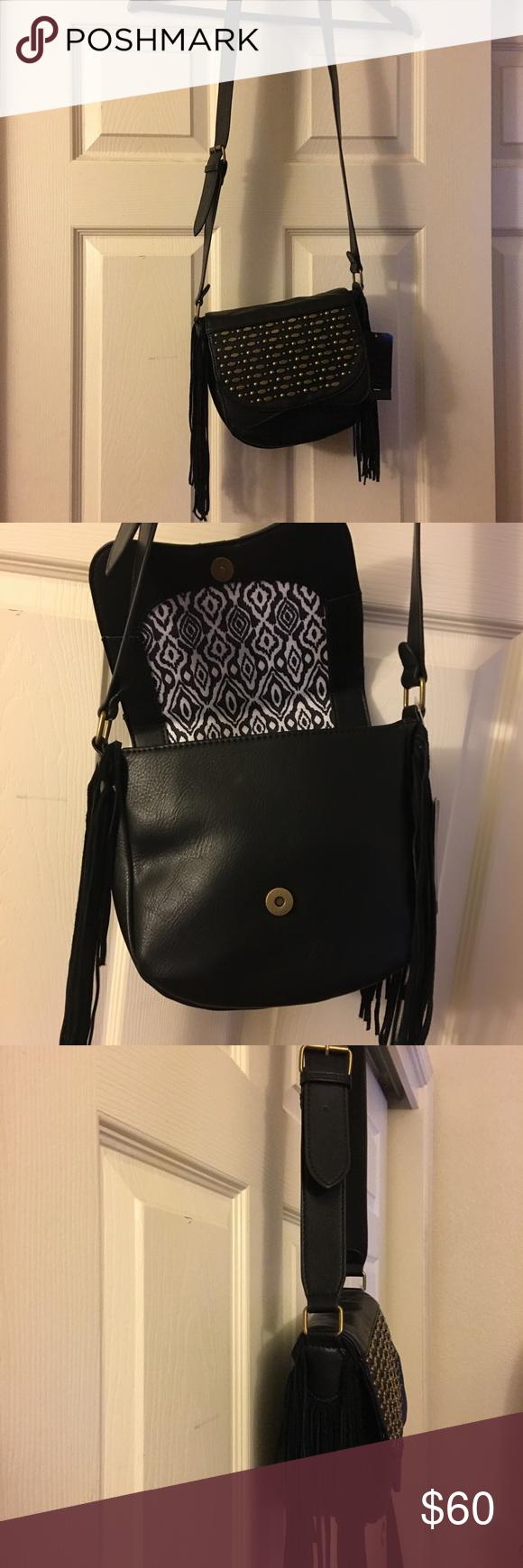 🏴Genuine suede stud flap bag Black suede flap cowgirl style crossbody bag Steve Madden Bags Crossbody Bags