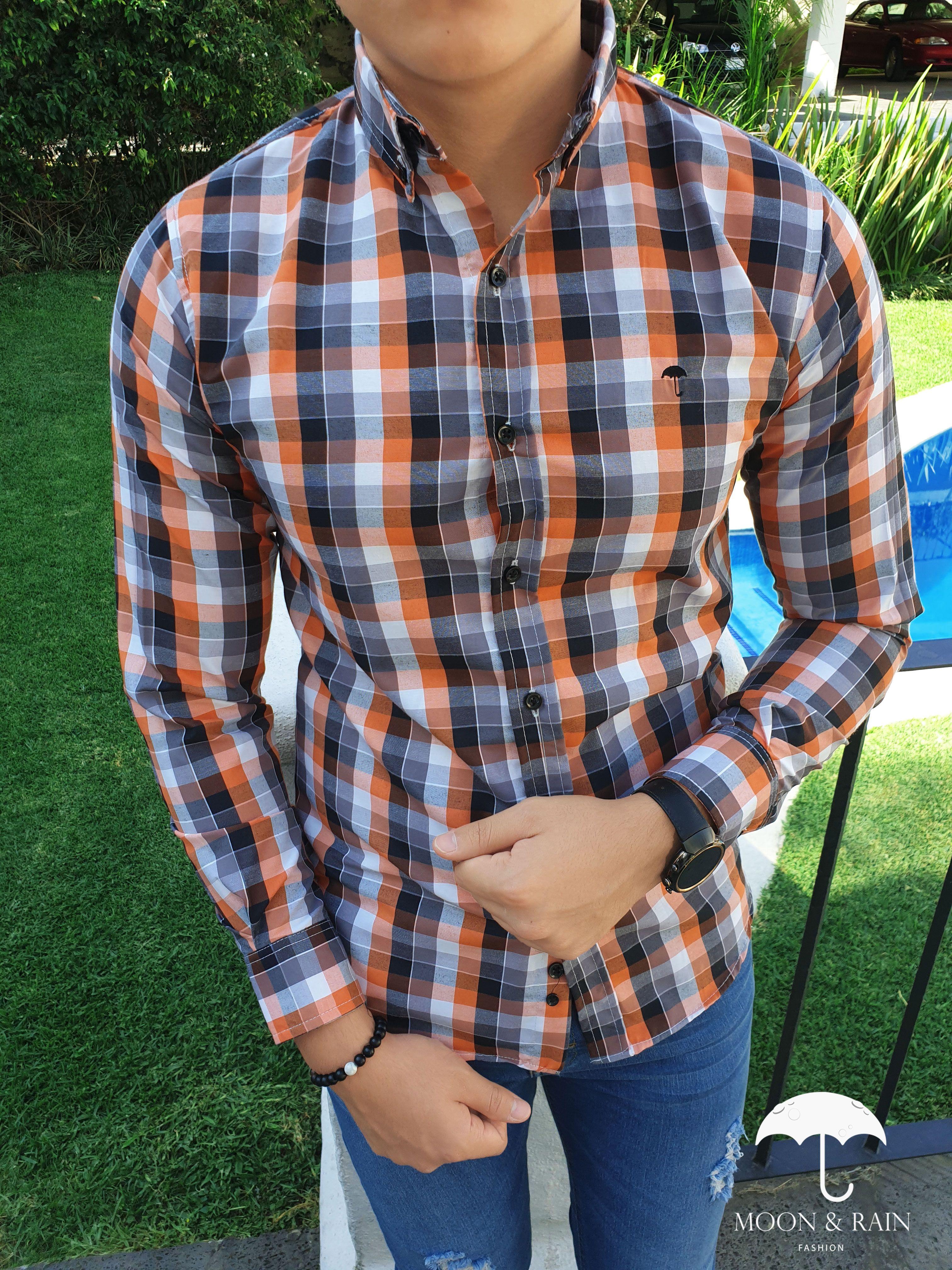 Camisa Cuadros Naranja Gris Camisa De Cuadros Estilo De Ropa Hombre Moda Ropa Hombre