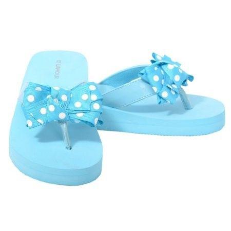 8800889a0 L Amour Little Girls 12 Light Blue Dot Bow Wedge Flip Flops Sandals ...