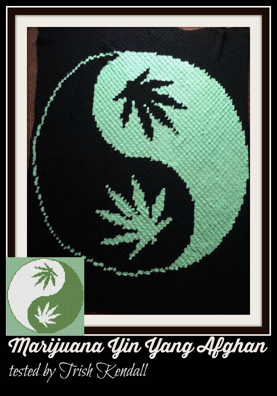 Marijuana Yin Yang Afghan C2c Graph Written Word Chart Crochet
