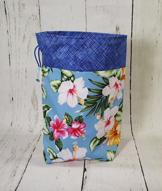 Hibiscus Flower Knitting Project Bag Small Drawstring Bag