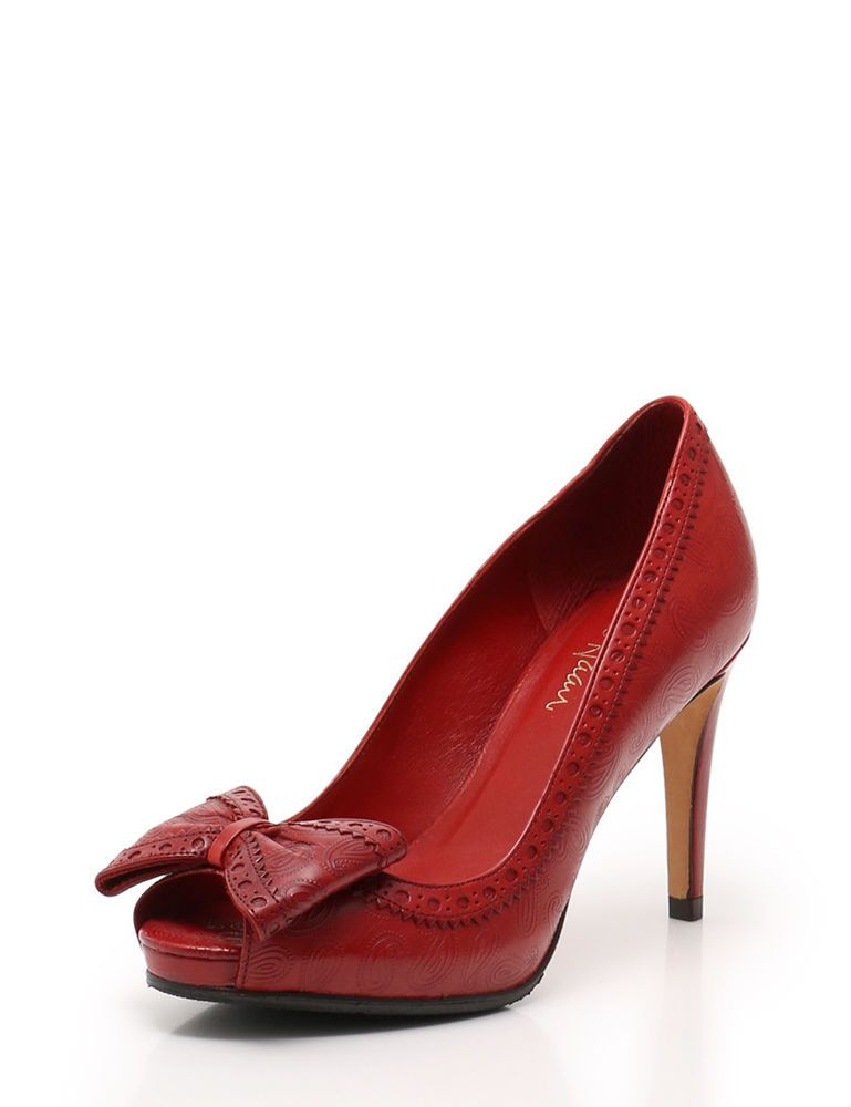 98d99be774be34 Cole Haan Open-toe pumps Paisley leather red ribbon  fashion  clothing   shoes  accessories  womensshoes  heels (ebay link)