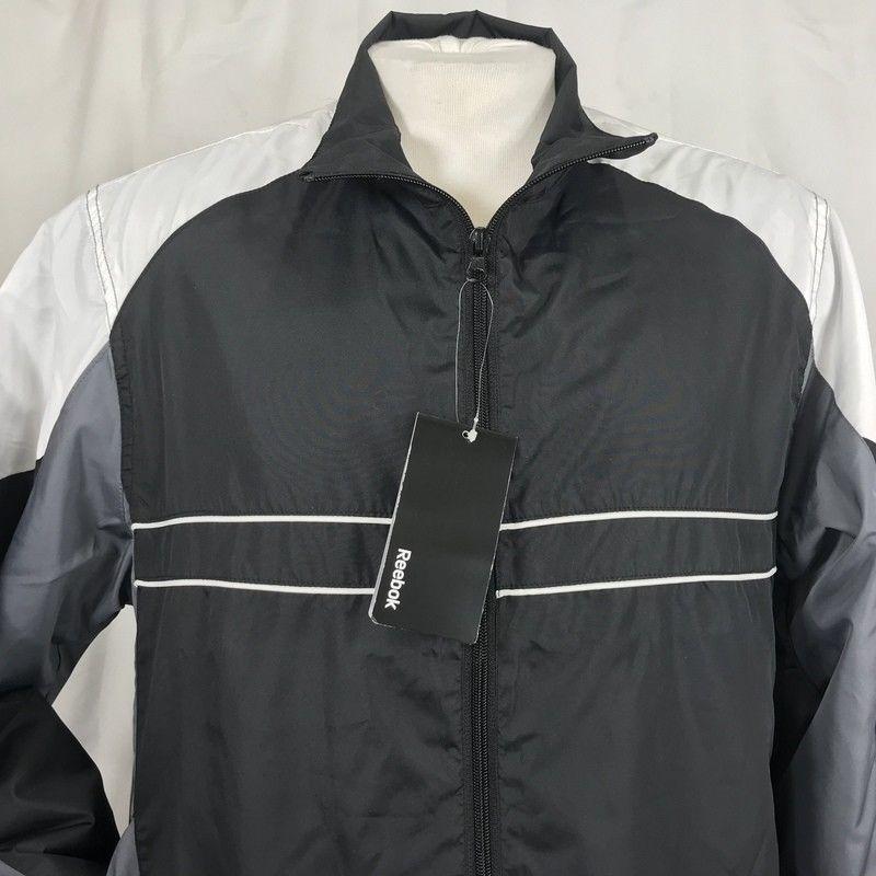 e5fa71c679 Reebok Mens Windbreaker Jacket Size Medium Total Rewards Black Full ...