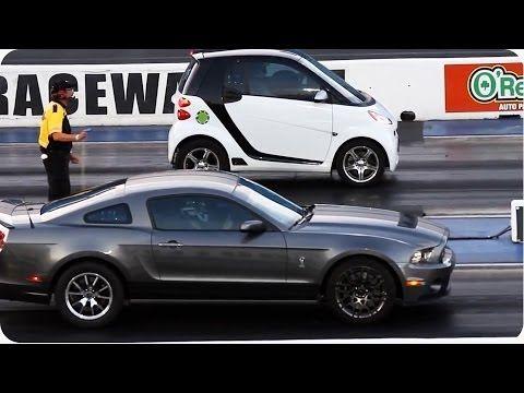 Blown Smart Car Outruns Mustang Epic Drag Race Smart Car Car Mustang