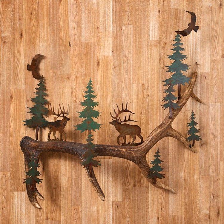 Rustic Metal Elk and Antler Wall Art & Rustic Metal Elk and Antler Wall Art | metal cuts | Pinterest ...