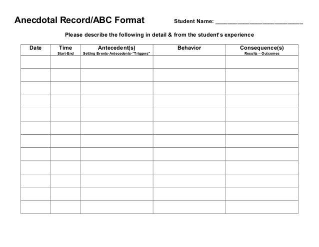 Behavior Tracking Sheet Anecdotal Records Behavior Tracking