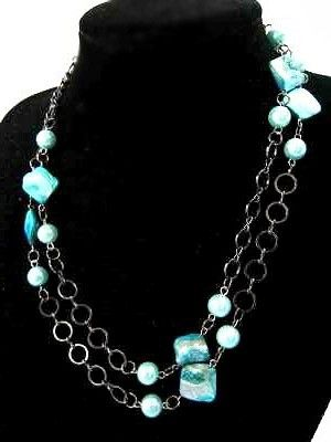 Mother of pearl  sea shell necklace  Blue by cheetaah on Etsy, $35.00