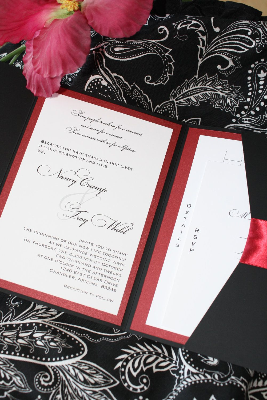 Luscious Ruby Red and Black Noir Pocketfold Wedding Invitation. $7.00, via Etsy.
