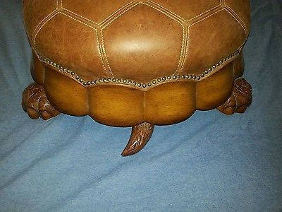Huge Beautiful Turtle Ottoman Very Unique Leather Amp Wood Ex Large Foot Stool Ottoman Footstool Xmas Wishes