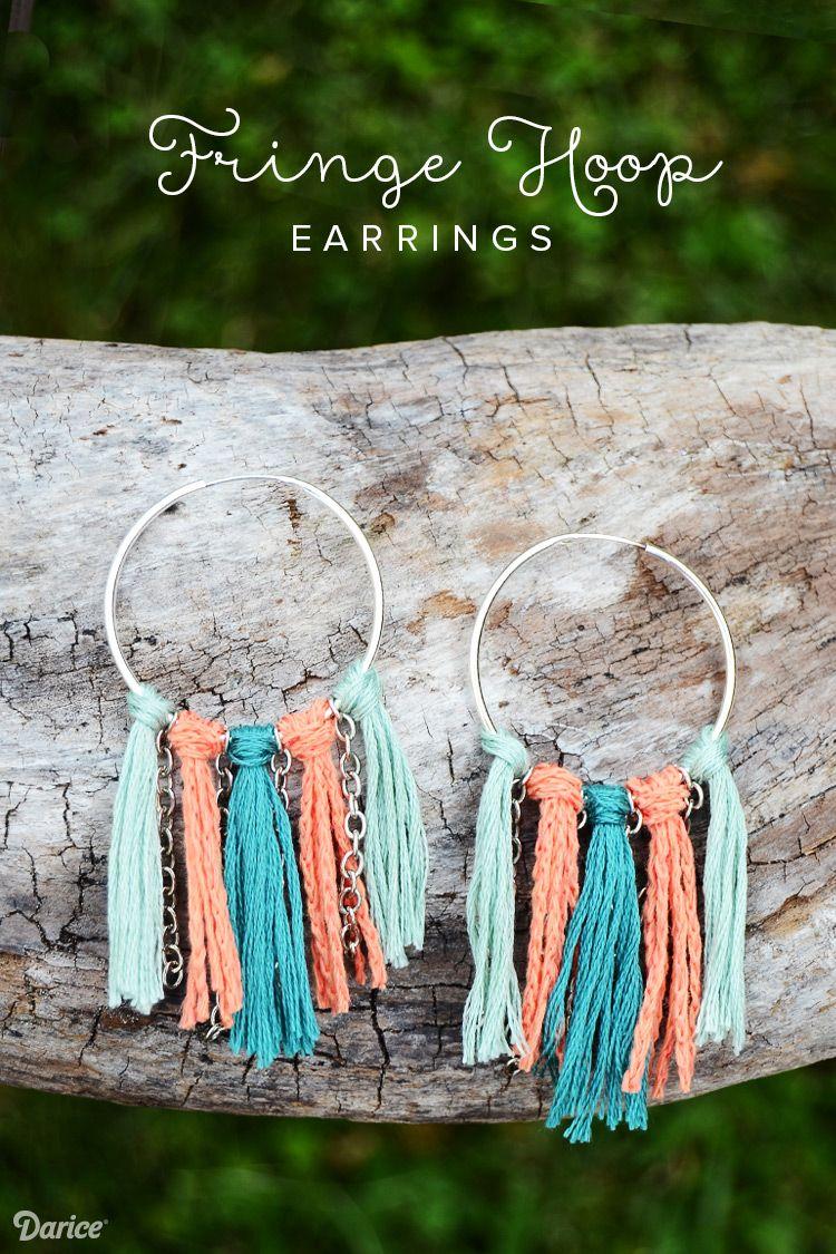 diy fringe hoop earrings tutorial - darice | tutorials, craft and diys