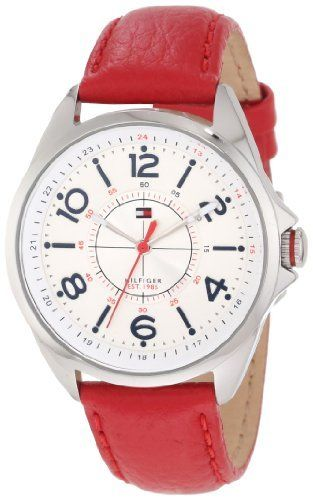 Tommy Hilfiger Women's 1781265 Sport Red Leather Stainless Steel Watch Tommy Hilfiger. $70.13. Quartz movement. Case diameter: 36 mm. Multi layer dial, stainless steel case. Durable mineral crystal protects watch from scratches. Water-resistant to 30 M (99 feet). Save 26% Off!