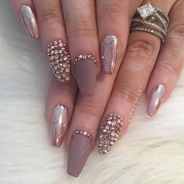 Rose gold chrome matte stones nail art pinteres rose gold chrome matte stones nail art more prinsesfo Image collections