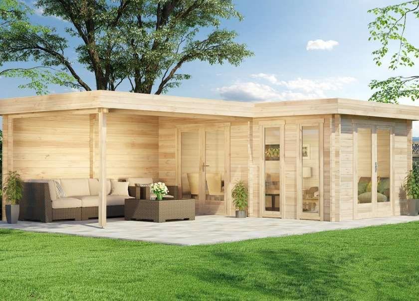 5Eck Gartenhaus Lindau40 mit Anbau in 2020 Flachdach