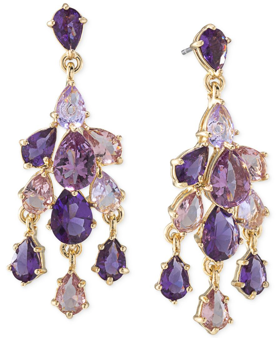 Carolee Gold Tone Purple Small Chandelier Earrings